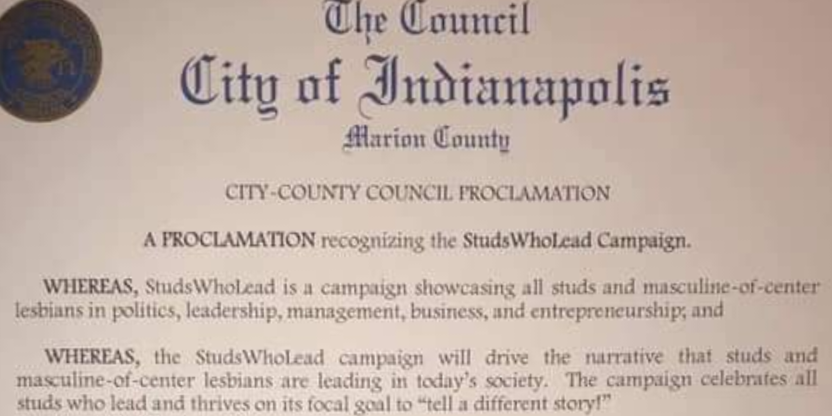 City-County Council member Zach Adamson recognizes 'StudsWhoLead'